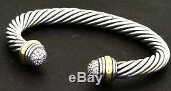 David Yurman 18k and sterling silver 0.50ct VS1-G diamond cuff bracelet