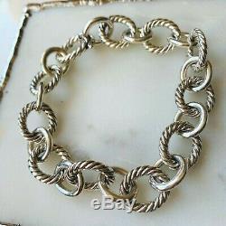 David Yurman $450 Silver Large Oval Link Chain Bracelet 12mm MEDIUM Authentic
