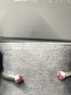 David Yurman 4mm cable Bracelet with Pink Tourmaline Stones Diamonds