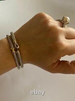 David Yurman 5mm Cable Buckle Bracelet 18K Gold Bezel Size LARGE