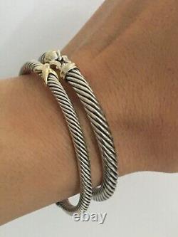 David Yurman 5mm Cable Buckle Bracelet 18K Gold Bezel Size Medium