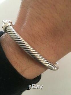 David Yurman 5mm Cable Buckle Bracelet 18K Gold Bezel Size SMALL