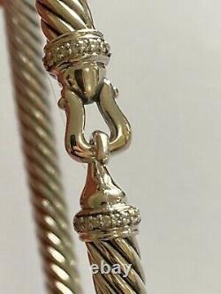David Yurman 5mm Cable Buckle Diamond Bracelet Size LARGE