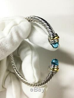 David Yurman 5mm Cable Classics Bracelet with Blue Topaz and 14K Gold