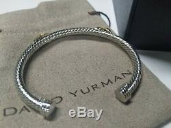 David Yurman 5mm Sterling Silver Double X Crossover Rope Cable Cuff Bracelet