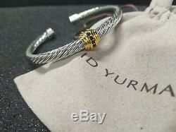 David Yurman 5mm Sterling Silver Single Station Cable Bangle Bracelet Black Onyx