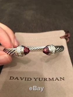 David Yurman 7mm Bracelet Sterling Silver Diamond Garnet Cable Classic Cuff