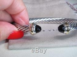David Yurman 7mm Faceted Onyx 14k Yellow Gold & Sterling Silver Bracelet