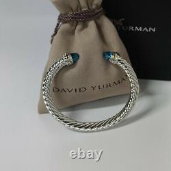 David Yurman 7mm Sterling Silver Blue Topaz Cable Classic Cuff Bracelet
