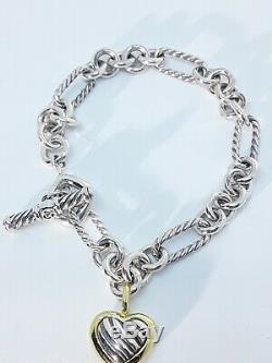 David Yurman 925 18K Gold Cable Heart Charm Toggle Bracelet 7.5