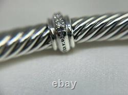 David Yurman 925 Center Station Cable Classic 4mm Cuff Bracelet with Diamonds