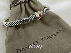 David Yurman 925 Renaissance Bracelet Pink Tourmaline, Rhodalite Garnet 14K Gold