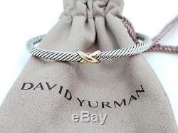 David Yurman 925 Sterling Silver 18k Yellow Gold X Cuff Bracelet 4mm