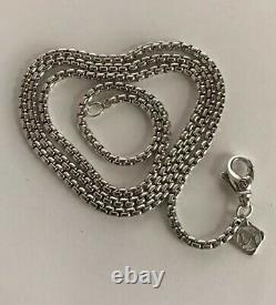 David Yurman Box Chain Necklace With Silver Logo 20 Long 3.6mm