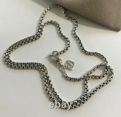 David Yurman Box Chain Necklace With Silver Logo 24Long 2.7mm