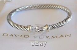 David Yurman Buckle 18k Yellow Gold Sterling Silver 5mm Cable Bracelet withPouch