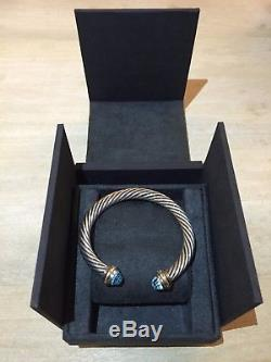 David Yurman Cable 14k Gold Sterling Silver 7mm Blue Topaz Cuff Bracelet Bangle