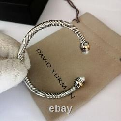 David Yurman Cable Bracelet 5mm Sterling Silver &14K Gold Pearl Bangle M Classic