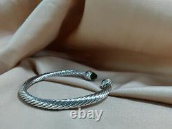David Yurman Cable Bracelet 5mm Sterling Silver with Black Onyx Cuff Bangle M