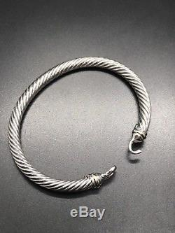 David Yurman Cable Buckle Bracelet With 18kGold 5mm 925 Sterling Silver Sz Large