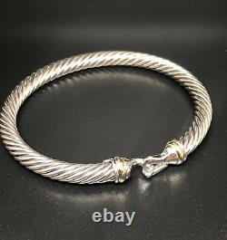 David Yurman Cable Buckle Bracelet With 18k Gold 5mm 925 Sterling Silver Large