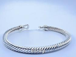 David Yurman Cable Buckle Bracelet With 18k Gold, 5mm 925 Sterling Silver (M)