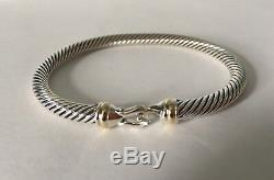 David Yurman Cable Buckle Bracelet With 18k Gold 5mm 925 Sterling Silver (S)