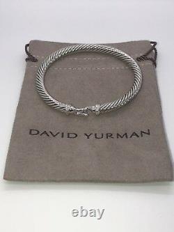 David Yurman Cable Buckle Bracelet with Diamonds 5mm Sz Large Authentic