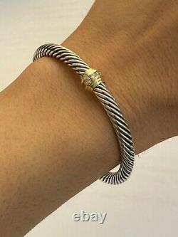 David Yurman Cable Classic Single Station Bracelet Diamonds & 14k Gold