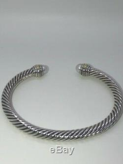 David Yurman Cable Classics Bracelet with Pearl & 14k Gold 5mm Small Authentic