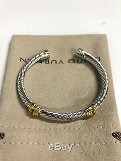 David Yurman Cable Cuff 925 Sterling Silver Bracelet 14k Gold 5mm green gemstone