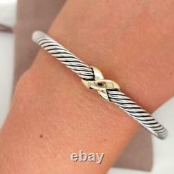 David Yurman Cable Cuff 925 Sterling Silver Bracelet 18k Gold X Crossover 5mm