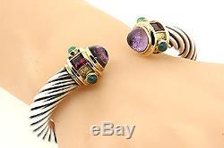 David Yurman Cable Cuff Bracelet Sterling Silver 14k Gold Renaissance Amethyst