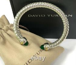 David Yurman Cable Cuff Sterling Silver 925 14K Gold Green Emerald Bracelet 7mm