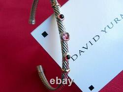 David Yurman Cable Renaissance 3xStation Cuff Bracelet Tourmaline Garnet 18KGold