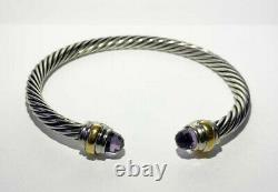 David Yurman Classic Cable 14K Gold Sterling Silver 5MM Bracelet with Amethyst