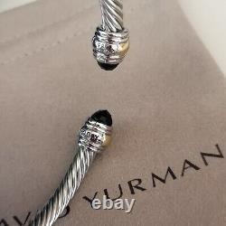 David Yurman Classic Cable Bracelet 5mm Sterling Silver Black Onyx Cuff Bangle