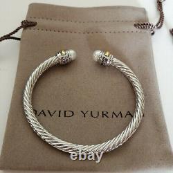 David Yurman Classic Cable Bracelet Sterling Silver &14K Gold Pearl Bangle 5mm