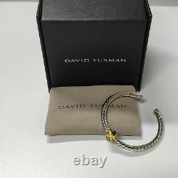 David Yurman Classic Sterling Silver Renaissance Cable Sapphire Cuff Bracelet