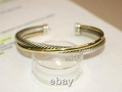 David Yurman Crossover Cuff Bracelet 18k Yellow Gold Sterling Silver