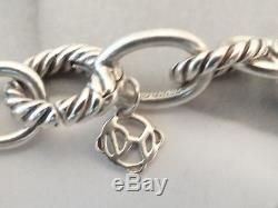 David Yurman Medium Oval Link Bracelet Sterling Silver 10mm cable link 7.5 Long