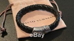 David Yurman Men's North Star Bracelet Black Leather Sterling Silver 925 Nice