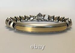 David Yurman Men's Sterling Silver &18K Gold Armory ID Bracelet $1200 NWT M