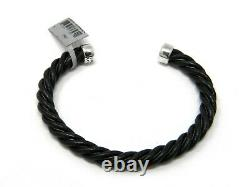David Yurman Mens 6mm Cable Classics Black Leather and Silver Cuff Bracelet NWT