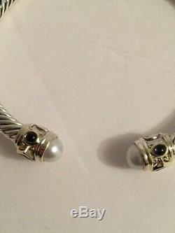 David Yurman Renaissance Bracelet Pearls & Gem Stones 925 Sterling Silver 14K