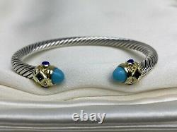 David Yurman Renaissance Bracelet Turquoise, Lapis Lazuli 14K Gold, Silver 925