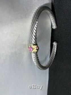 David Yurman Renaissance Bracelet With Pink Tourmaline Rhodalite Garnet & 14k Gold