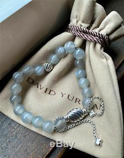 David Yurman Silver 925 Spiritual Bead Bracelet W Grey Moonstone 8mm Adjustable