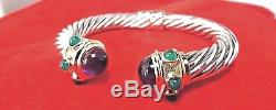 David Yurman Sterling Silver 14K Amethyst 10MM Cable Renaissance Bracelet
