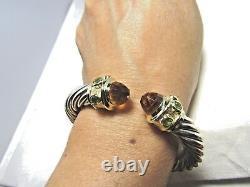 David Yurman Sterling Silver 14K Citrines & Peridot 10MM Renaissance Bracelet